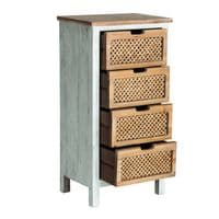 Danielle Narrow Rustic Chest Of Drawers With Weaved Fronts